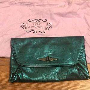Lulu Guinness metallic leather envelope clutch